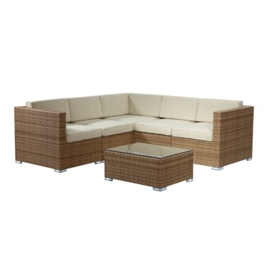 Brighton 6 Piece Sectional Seating Group with Cushion Fabric: Beige, Finish: Honey