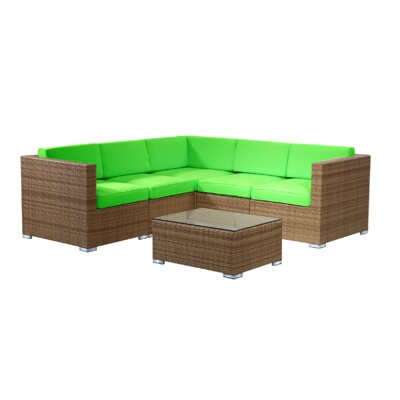 Brighton 6 Piece Sectional Seating Group with Cushion Fabric: Green, Finish: Honey