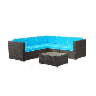 Brighton 6 Piece Sectional Seating Group with Cushion Fabric: Aqua, Finish: Driftwood