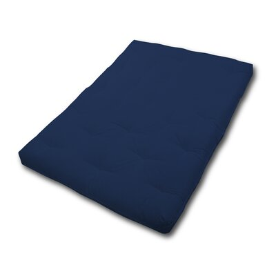 6 Fiber Foam Futon Mattress Size: Twin, Color: Navy