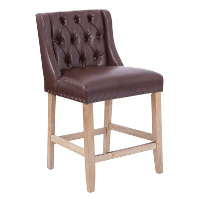 Kate 25.75 Bar Stool with Cushion Upholstery: Cocoa Bonded Leather