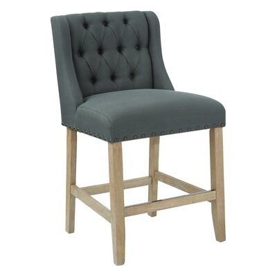 Kate 25.75 Bar Stool Upholstery: Fabric-Klein Charcoal