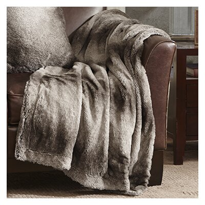 Luxury Faux Fur Throw Blanket Color: Gray