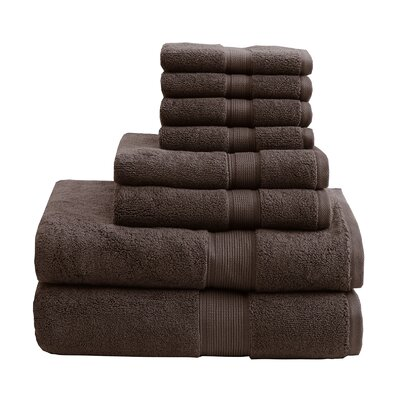 800 GSM Cotton 8 Piece Towel Set Color: Brown