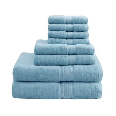 800 GSM Cotton 8 Piece Towel Set Color: Aqua