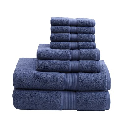 800 GSM Cotton 8 Piece Towel Set Color: Navy