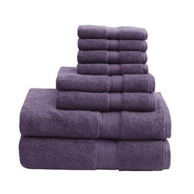 800 GSM Cotton 8 Piece Towel Set Color: Purple