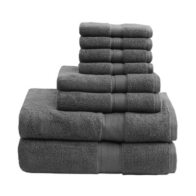 800 GSM Cotton 8 Piece Towel Set Color: Gray