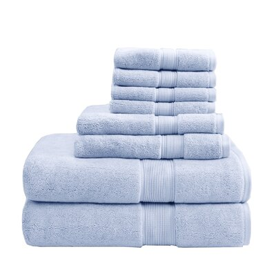 8 Piece Towel Set Color: Light Blue