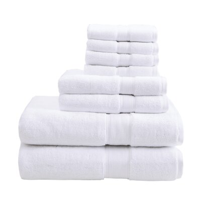 800 GSM Cotton 8 Piece Towel Set Color: White