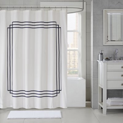 Elloy Cotton Applique Shower Curtain Color: Black