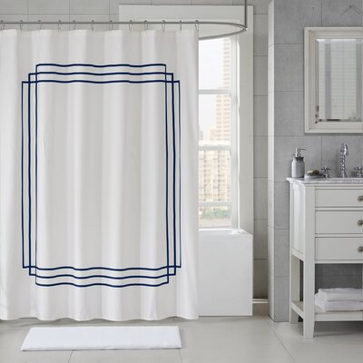 Elloy Cotton Applique Shower Curtain Color: Navy