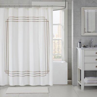 Elloy Cotton Applique Shower Curtain Color: Taupe