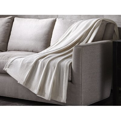 Luxury Wool Throw Color: Ivory, Size: 96 H x 80 W
