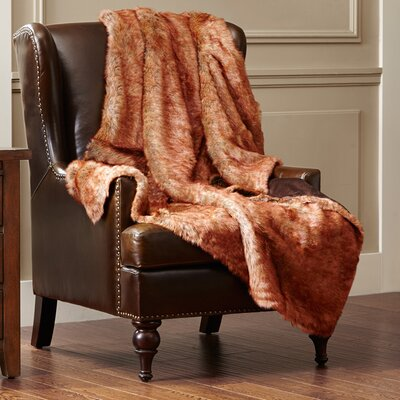 Luxury Faux Fur Throw Blanket Color: Red Fox