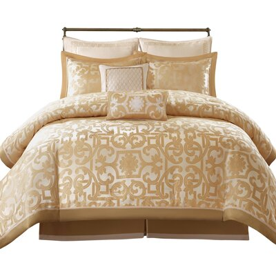 Castello 8 Piece Comforter Set Size: King, Color: Gold