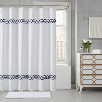 Chainlink Shower Curtain Color: Navy