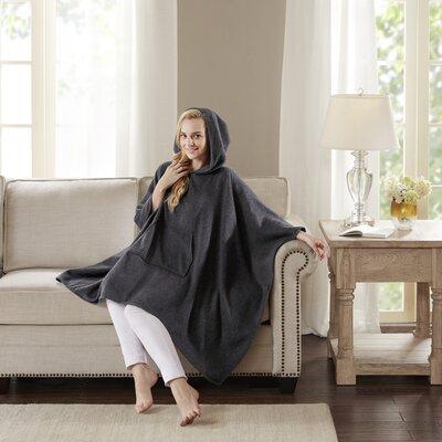 Luxury Cashmere Poncho Color: Dark Gray