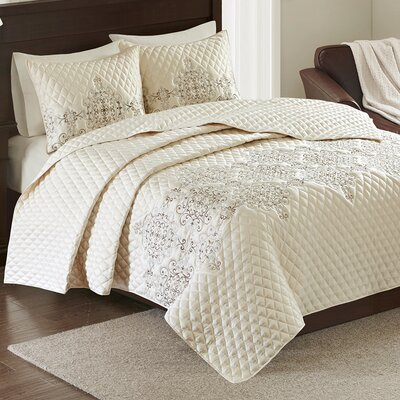 Constantine 3 Piece Coverlet Set Size: Full / Queen, Color: Aqua