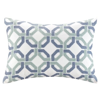 Concord Cotton Embroidered Lumbar Pillow Color: Indigo