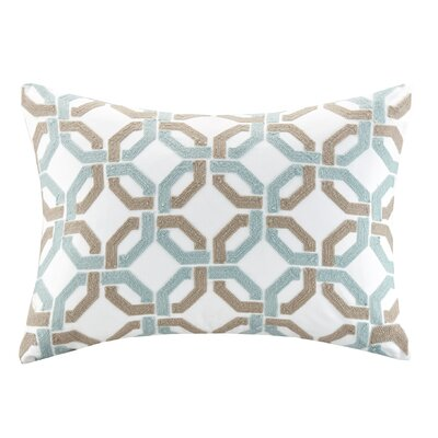 Concord Cotton Embroidered Lumbar Pillow Color: Blue/Taupe