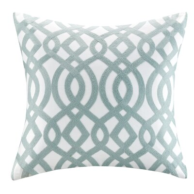 Trellis Cotton Embroidered Throw Pillow Color: Blue