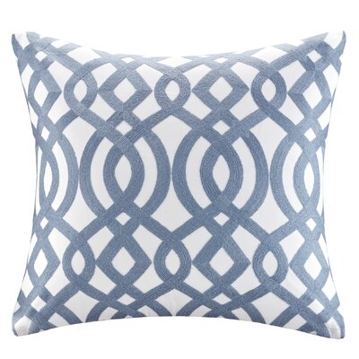 Trellis Cotton Embroidered Throw Pillow Color: Indigo