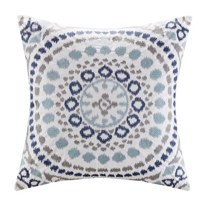 Grace Cotton Embroidered Throw Pillow Color: Indigo