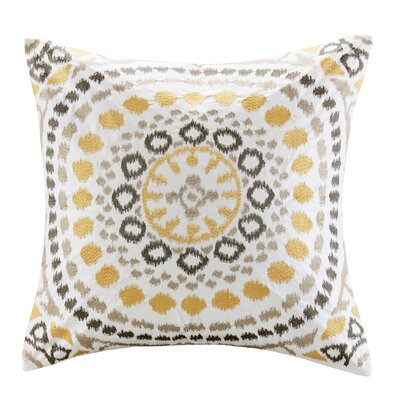 Grace Cotton Embroidered Throw Pillow Color: Yellow