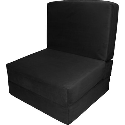 Bator Convertible Chair Upholstery: Suede Ebony Black