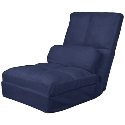 Batres Futon Chair Size: 36.5 H x 28 W x 26 D, Upholstery: Suede Dark Blue