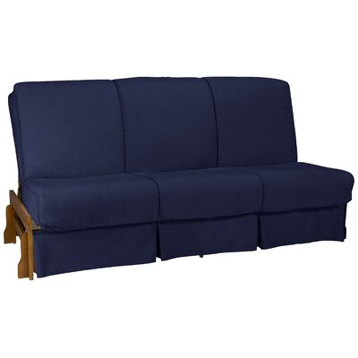 Perfect Box Cushion Futon Slipcover Size: Full, Upholstery: Suede Dark Blue