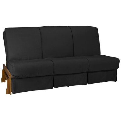 Perfect Box Cushion Futon Slipcover Size: Full, Upholstery: Suede Ebony Black
