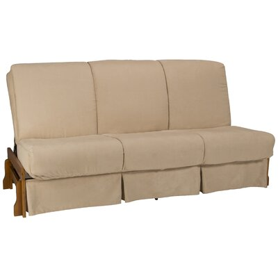 Perfect Box Cushion Futon Slipcover Size: Full, Upholstery: Suede Khaki