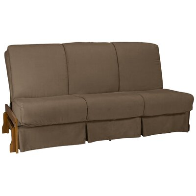 Perfect Futon Skirt Slipcover Upholstery: Suede Mocha Brown, Size: Full