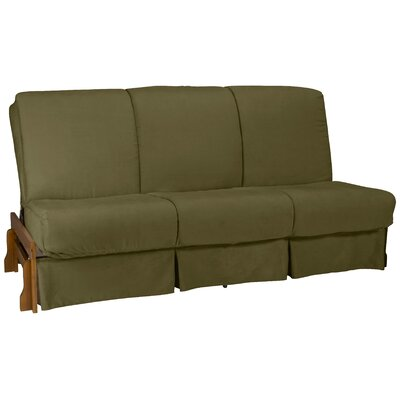Perfect Futon Skirt Slipcover Upholstery: Suede Olive Green, Size: Full
