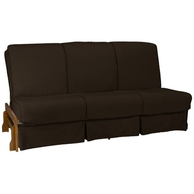 Perfect Box Cushion Futon Slipcover Size: Queen, Upholstery: Suede Chocolate Brown