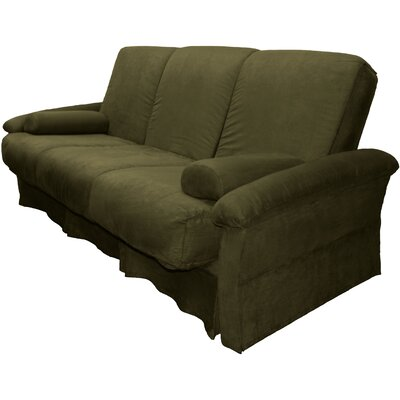 Perfect Sit N Sleep Futon Chair Size: Queen, Upholstery: Suede Olive Green