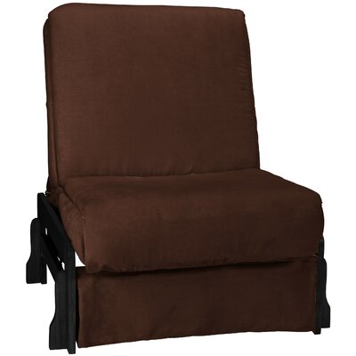 Perfect Box Cushion Futon Slipcover Size: Chair, Upholstery: Suede Chocolate Brown