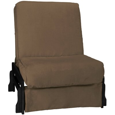 Perfect Box Cushion Futon Slipcover Size: Chair, Upholstery: Suede Mocha Brown