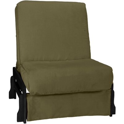 Perfect Box Cushion Futon Slipcover Size: Chair, Upholstery: Suede Olive Green