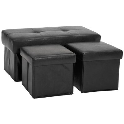 3 Piece Storage Ottoman Set Upholstery: Leather Look Black