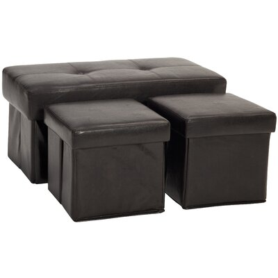 3 Piece Storage Ottoman Set Upholstery: Leather Look Brown