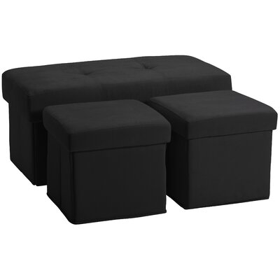 3 Piece Storage Ottoman Set Upholstery: Suede Ebony Black