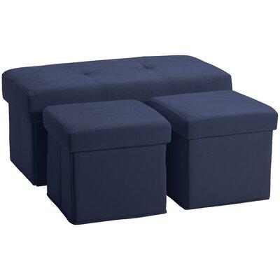 3 Piece Storage Ottoman Set Upholstery: Suede Dark Blue