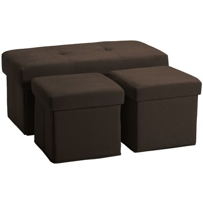 3 Piece Storage Ottoman Set Upholstery: Suede Chocolate Brown