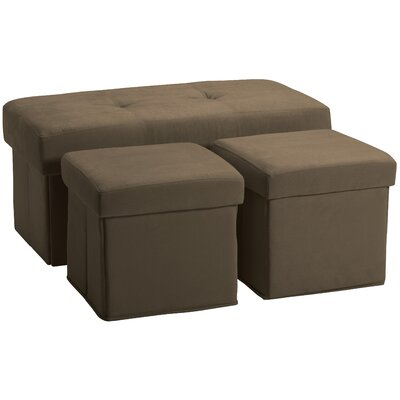 3 Piece Storage Ottoman Set Upholstery: Suede Mocha Brown