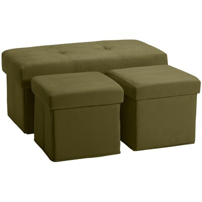 3 Piece Storage Ottoman Set Upholstery: Suede Olive Green