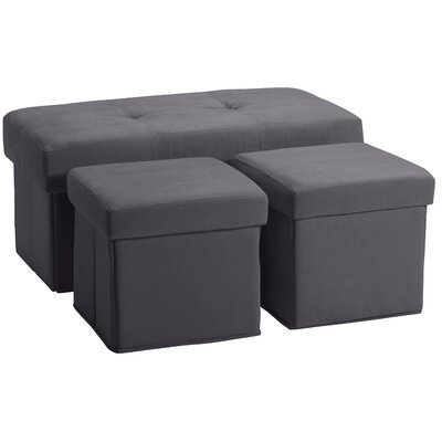 3 Piece Storage Ottoman Set Upholstery: Suede Slate Gray