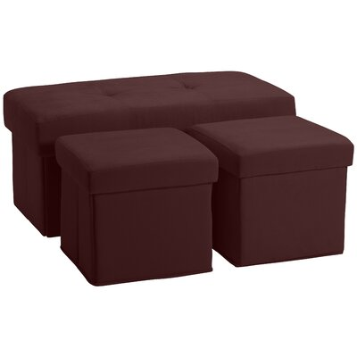 3 Piece Storage Ottoman Set Upholstery: Suede Wine Red